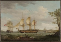 Thomas Whitcombe, ''Departure of the whaler Britannia from Sydney Cove, 1798'', National Library of Australia, Canberra.