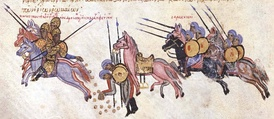 Constantine Doukas escapes from Arab captivity, throwing gold coins behind him to delay his pursuers. Miniature from the Madrid Skylitzes chronicle.