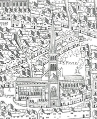 "Old St Paul's, as shown on the""Copperplate"" map of the 1550s"