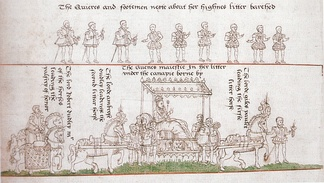 Elizabeth's coronation procession: Robert Dudley is on horseback on the far left, leading the palfrey of honour.