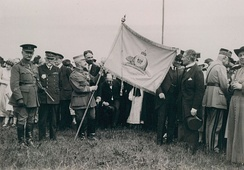 Émile Fayolle Marshal of France, being awarded the flag of Canada's Royal 22e Régiment on the Plains of Abraham in Quebec City, Quebec, Canada.1921.