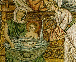 A mosaic from Daphni Monastery in Greece (ca. 1100), showing the midwives bathing the new-born Christ.