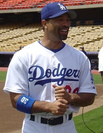 Roberts playing for the Los Angeles Dodgers