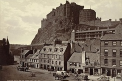 Edinburgh Castle from the Grassmarket, photographed by George Washington Wilson in 1865