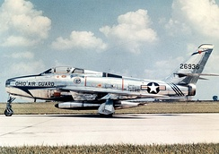 Former Ohio 166th TFS Republic F-84F-40-RE Thunderstreak, Serial 52-6526. Today, this aircraft is on permanent exhibit at the Museum of the United States Air Force Wright-Patterson AFB, Ohio