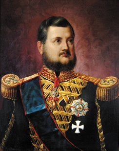 Portrait of king Ferdinand II of the Two Sicilies wearing the cross of the order, 1851