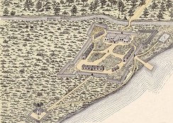 Depiction of Fort Ville-Marie in 1645. Fort Ville-Marie was the first European fortified settlement established the area.
