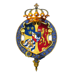 Arms of Oscar II, King of Sweden and Norway, as displayed on his Garter stall plate in St George's Chapel