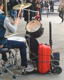 Improvised bass drum in Trafalgar Square, London.