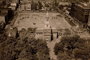 Independence Hall, with newly demolished First Block of Independence Mall, 1952.
