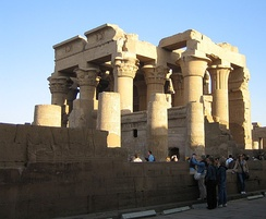 Temple of Kom Ombo constructed in Upper Egypt in 180–47 BC by the Ptolemies and modified by the Romans. It is a double temple with two sets of structures dedicated to two separate deities.