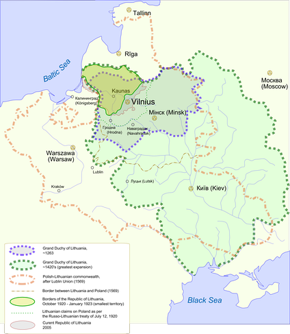 Changes in the territory of Lithuania from the 13th century to the present day. At its peak, Lithuania was the largest state in Europe.[28] Lithuania's strength was its extraordinary toleration of various cultures and religions. The Third Statute of Lithuania removed term heretic as a discrimination in 1588 and the state had no Inquisition.[29]