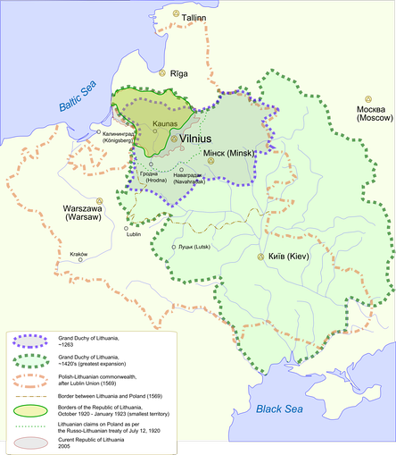 Map showing changes in the territory of Lithuania from the 13th century to the present day.