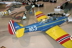 Fairchild PT-19 used in the Little Norway training camp. Now at the Canadian Warplane Heritage Museum
