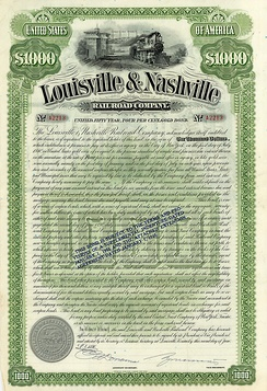 Gold Bond of the Louisville & Nashville Railroad Company, issued 2. June 1890
