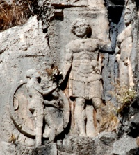 Warrior in Lycian tomb relief at Myra, 4th century BC.[9]