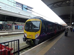 TransPennine Express Class 185 arriving at the Manchester Airport railway station