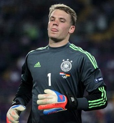 Neuer in action for Germany in their Euro 2012 group stage match against Netherlands on 13 June