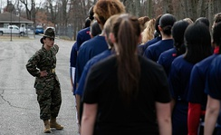 A Drill Instructor directing Marine recruits