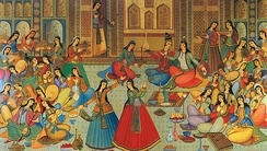 A Persian miniature depicting a late Zand- or Qajar-era banquet with women playing musical instruments. Artist is a student of Kamal-ol-molk by the name of Ibrahim Jabbar-beik.