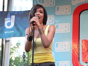 Michelle performing on stage at J&R Musicfest, 2008