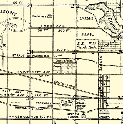 "In the center of this 1874 map is the new St. Paul Hamline University campus that was under construction. Here it is labeled ""College Place."""