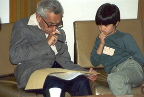 Number theorists Paul Erdős and Terence Tao in 1985, when Erdős was 72 and Tao was 10.
