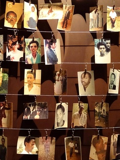 Photographs of genocide victims displayed at the Genocide Memorial Center in Kigali