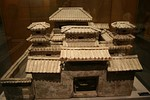 A pottery model of a palace from a Han-dynasty tomb; the entrances to the emperor's palaces were strictly guarded by the Minister of the Guards; if it was found that a commoner, official, or noble entered without explicit permission via a tally system, the intruder was subject to execution.[165]