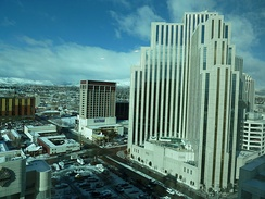 Silver Legacy Hotel with Downtown Reno in the background