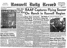 "Roswell Daily Record, July 8, 1947, announcing the ""capture"" of a ""flying saucer"""
