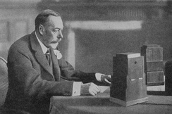 King George V giving the 1934 Royal Christmas Message on BBC Radio. The annual message typically chronicles the year's major events.