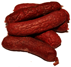 Salchicha oaxaqueña, a type of semi-dry sausage from the Mexican state of Oaxaca