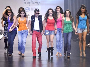 "Salman Khan, one of the ""Three Khans"", with Bollywood actresses (from left) Kareena Kapoor, Rani Mukerji, Preity Zinta, Katrina Kaif, Karisma Kapoor, and Priyanka Chopra, in Mumbai, 2010."