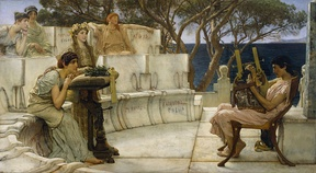 Sappho's sexuality has long been the subject of debate.  Sir Lawrence Alma-Tadema's Sappho and Alcaeus (above) portrays her staring rapturously at her contemporary Alcaeus; images of a lesbian Sappho, such as Simeon Solomon's painting of Sappho with Erinna (below), were much less common in the nineteenth century.