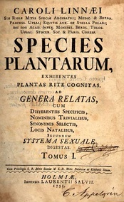 Cover page of Species Plantarum of Carl Linnaeus published in 1753