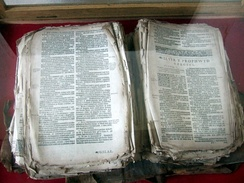 Welsh Bible of 1620, in Llanwnda church, rescued from the hands of French invaders in 1797.[18]