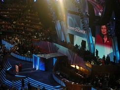 Duckworth speaks during the third night of the 2008 Democratic National Convention in Denver, Colorado