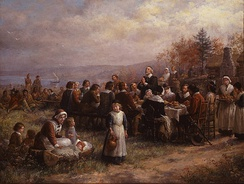 Jennie Augusta Brownscombe, Thanksgiving at Plymouth (1925), National Museum of Women in the Arts, Washington, D.C.