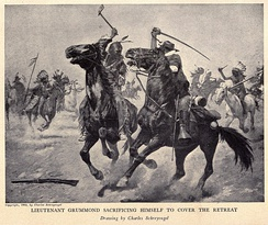 Tomahawk and sabre; or even odds, painting by Charles Schreyvogel (1861–1912). This kind of combat never occurred at the Battle of the Little Bighorn: none of the 7th Cavalry carried sabers on Custer's orders.