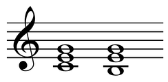 Tonic and tonic counter parallel in C major: CM and Em chords Play (help·info).