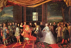 Louis XIV of France and Philip IV of Spain meeting at the Isle of Pheasants for the signing of the Treaty of the Pyrenees, which, in part, arranged the marriage of Louis with Philip's daughter Maria Theresa.