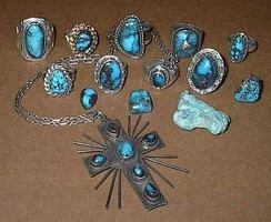 Bisbee turquoise commonly has a hard chocolate brown coloured matrix.
