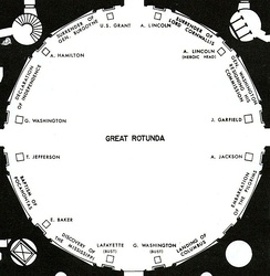 Floor plan showing locations of rotunda paintings, statues and busts in 1978 (prior to the Eisenhower, Reagan, and Ford statues, King bust, and women's suffrage monument).