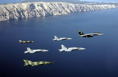 Croatian Air Force and US Navy aircraft participate in multinational training, 2002.