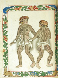 "Spanish depiction of the tattoos (patik) of the Visayan Pintados (""the painted ones"") of the Philippines in the Boxer Codex (c.1590), one of the earliest depictions of native Austronesian tattoos by European explorers"