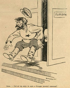 "A political cartoon from Poland depicting the Soviet Union in the form of ""Ivan"" being kicked out of Europe: ""It seems Europe has stopped respecting me"""
