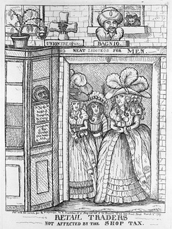 A political cartoon from 1787 jesting about the notion of taxation affecting prostitutes