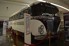 1949 Fitzjohn bus on display at the Terminal de Autobuses de Pasajeros de Oriente bus station in Mexico City