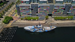 Aerial perspective of the Sea Shepherd docked at the Victoria Harbour Promenade, Waterfront end of Enterprize Way, Docklands, February 2019